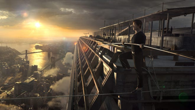"""Sporting fake blue eyes and a thick French accent, Joseph Gordon-Levitt plays Philippe Petite in """"The Walk,"""" a film about high-wire artist Phillippe Petit's walk between the Twin Towers in 1974."""