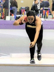 Monique Hardy, a sophomore at Webster Thomas, competing in the shot put