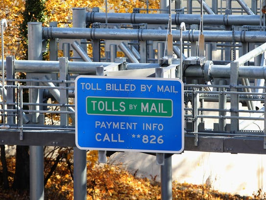A tolls by mail sign on the New York State Thruway