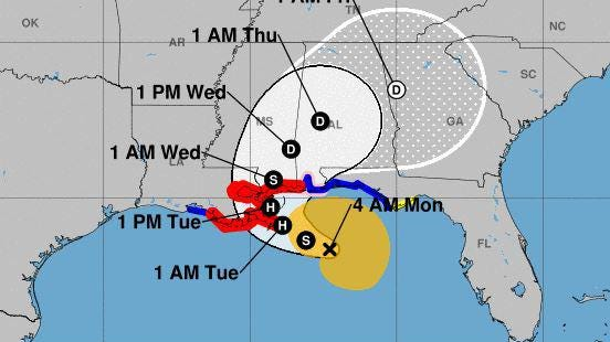 The National Hurricane Center is forecasting Tropical Storm Sally to gain strength, becoming a hurricane before making landfall along the Louisiana and Mississippi coast.