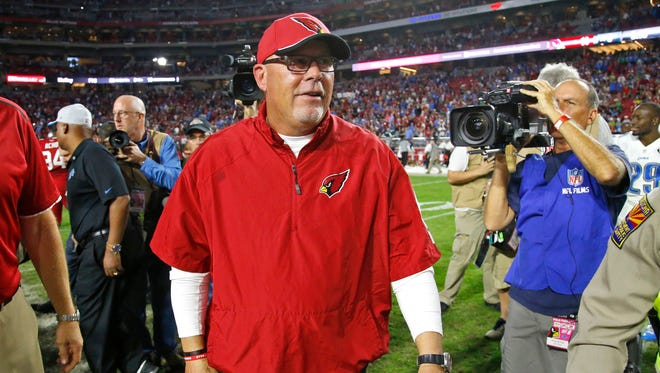 Arizona Cardinals head coach Bruce Arians was all smiles following their 14-6 win over the Detroit Lions in their NFL game on Nov. 16, 2014 in Glendale.