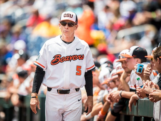 OSU coach Pat Casey, pictured at the 2017 College World