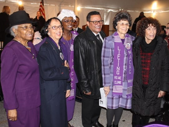 From left to right: National Association of Colored Women's Clubs members Carolyn Coleman and Dr. Jeanne Sinkford; NACWC president, Sharon Bridgeforth; Kenneth B. Morris Jr., descendent of Douglass; NACWC member, Bertha Butler; and Nettie Washington Douglass, Morris' mother, descendent of Douglass and co-founder of FDFI.