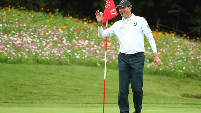 SHANGHAI, CHINA - OCTOBER 29:  Matt Kuchar of the United States celebrates a hole in one on the 17th hole during day three of the WGC - HSBC Champions at Sheshan International Golf Club on October 29, 2016 in Shanghai, China.  (Photo by Scott Halleran/Getty Images) ORG XMIT: 598025319 ORIG FILE ID: 618933676