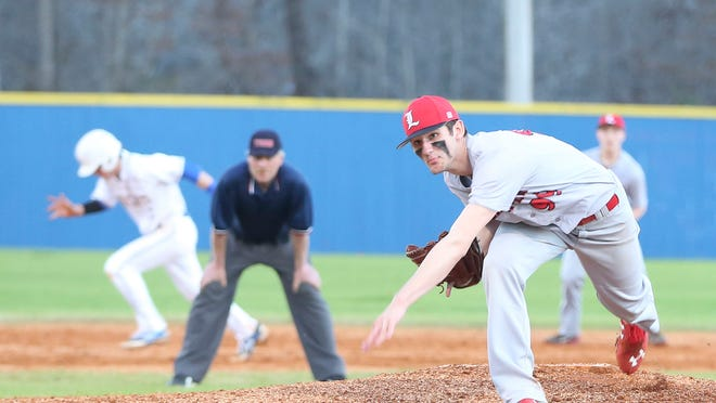 Lexington's Ethan Small pitches against McNairy Central ina game that over 30 MLB scouts attended.
