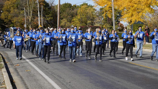 The Adrian High School marching band is pictured Oct. 16 during the school's homecoming parade. Public school instrumental music programs in Lenawee County are the beneficiaries of grants from the Elizabeth R. Wilson Foundation to support them during the pandemic.