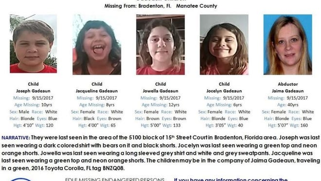 An AMBER alert has been issues for four children from Bradenton, Florida. They were last seen on Sept. 15.