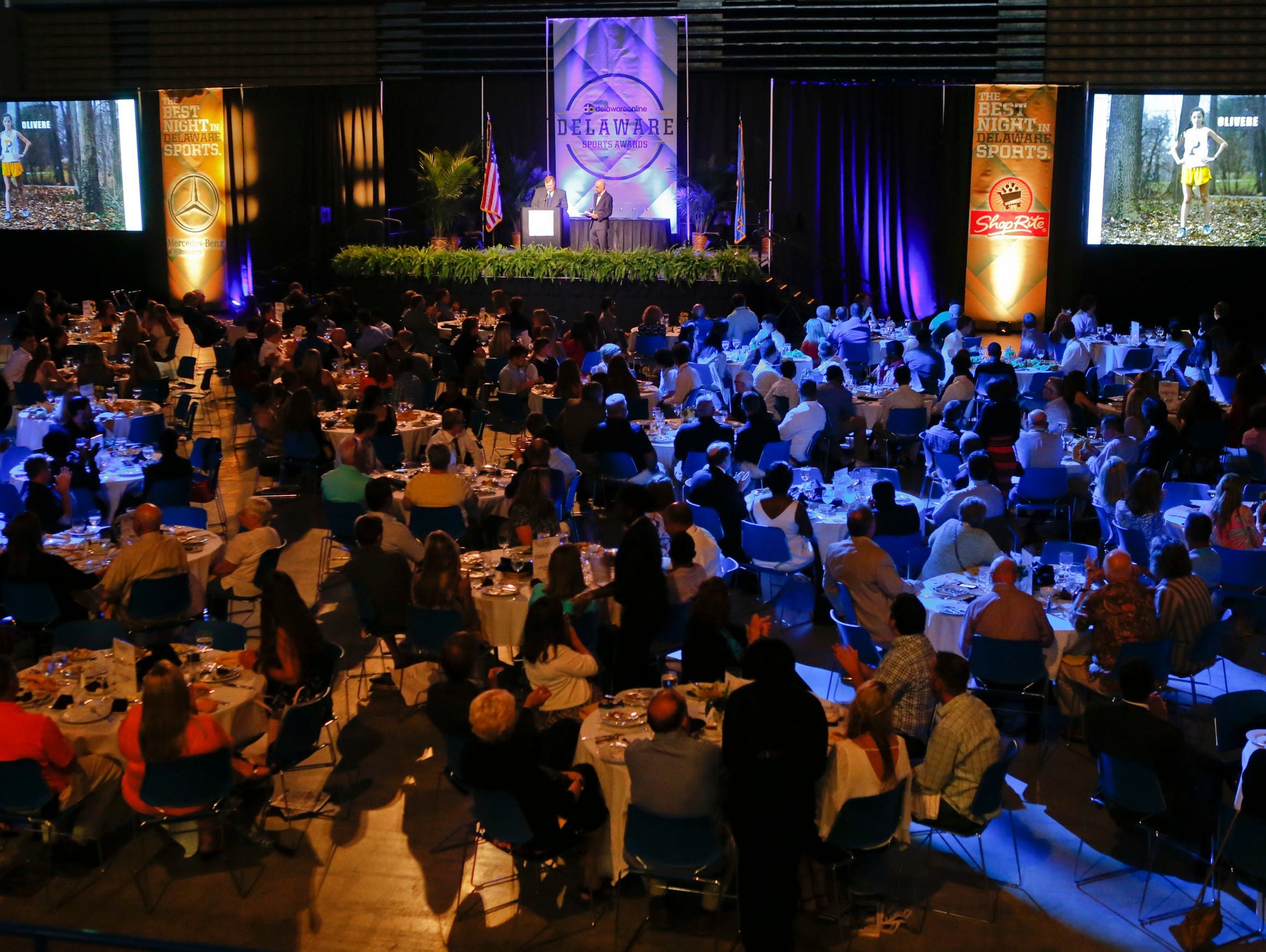 Athletes of the Week are recognized during the Delaware Sports Awards banquet at the Bob Carpenter Center Wednesday.