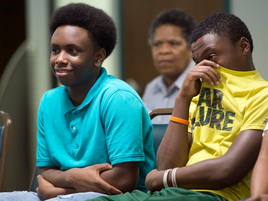 FILE PHOTO: Mikaylo Luster, left, and brother Mekhi Luster attend a forum at Emerald Youth Foundation on Tuesday, March 15, 2016 about hip hop's influence on society and culture. A panel of three high school students and one college student answered questions and talked about topics ranging from bullying to social media. (SAUL YOUNG/NEWS SENTINEL)