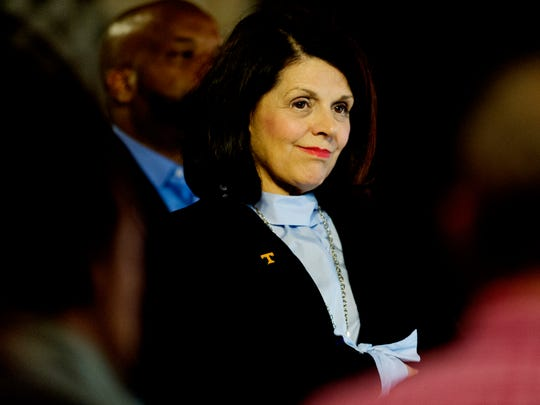 University of Tennessee Chancellor Beverly Davenport attends a press conference on the UT campus in Knoxville on Sept. 14, 2017.
