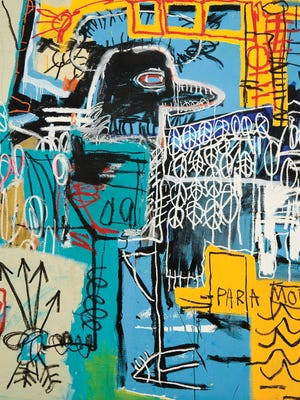"""""""Bird On Money,"""" by Jean-Michel Basquiat, 1981, acrylic and oil on canvas. Courtesy of Rubell Family Collection, Miami"""