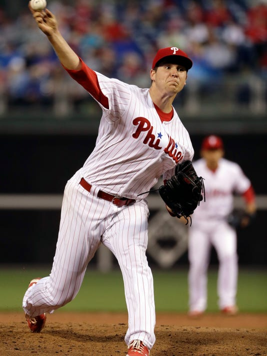 Philadelphia Phillies' Jerad Eickhoff pitches during the third inning of a baseball game against the Colorado Rockies, Monday, May 22, 2017, in Philadelphia. (AP Photo/Matt Slocum)