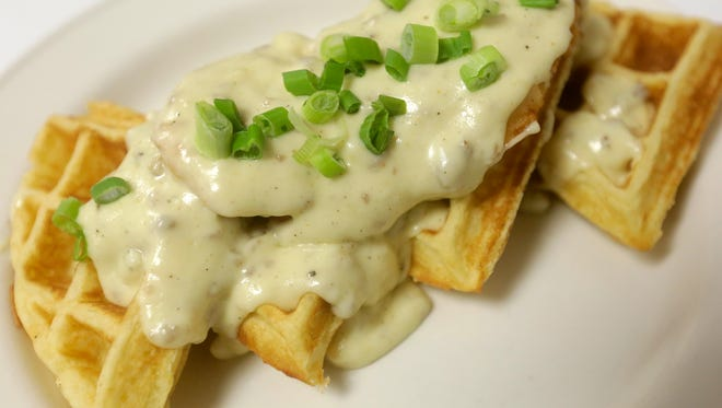 Chicken and waffles prepared Sunday by Great Dane Pub in Wausau.