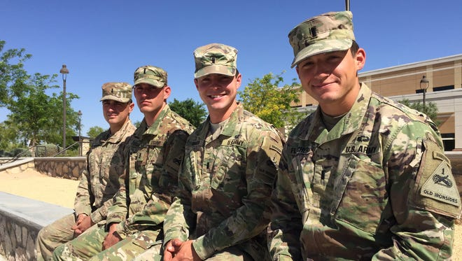 Fort Bliss and the 1st Armored Division were represented at the Army-wide Best Ranger Competition, from left, by 1st Lts. James Atkins, Devin Perlee, Jonathan Reimer and Andrew Fletcher.