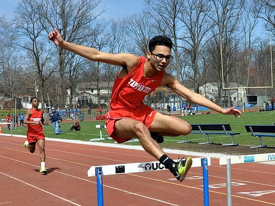 Tappan Zee's Wiilliam Joyner clears the last hurdle