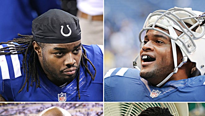 Among the Colts that could be on the move: (Clockwise from top left: Running back Trent Richardson, linebacker Jerrell Freeman, defensive end Ricky Jean-Francois and safety Mike Adams.