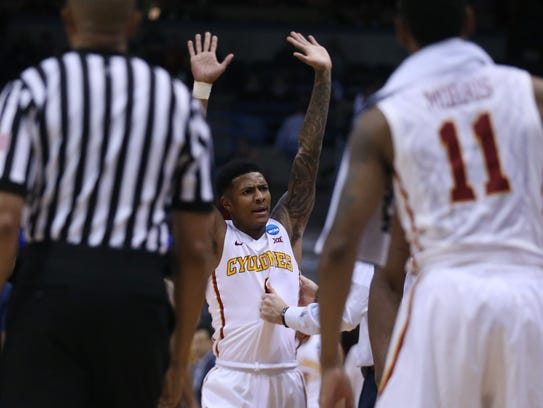 Iowa State's Donovan Jackson reacts as the Cyclones