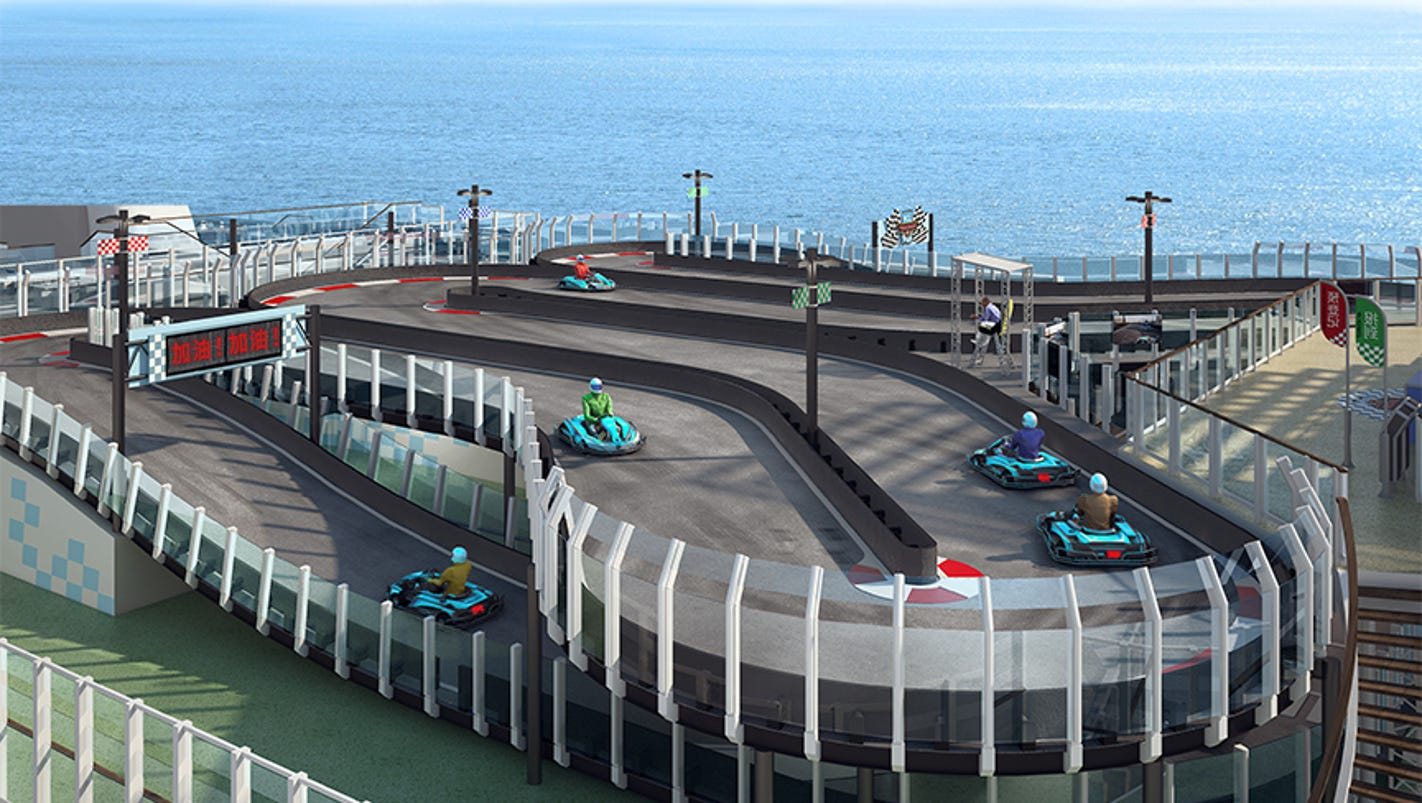 Latest Gee-whiz Cruise Ship Attraction A Deck-top Race Track