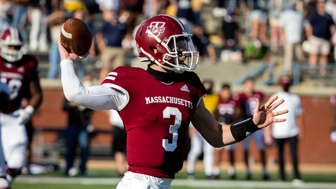 Massachusetts quarterback Mike Fallon (3) throws a pass against Georgia Southern during the first half of an NCAA football game, Saturday, Oct. 17, 2020, in Statesboro, Ga.