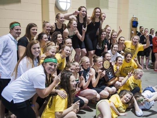 The Fossil Ridge girls swim team won a Class 5A state