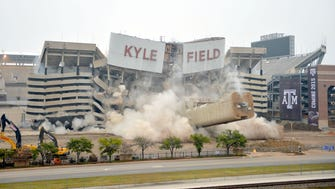 The west side of Kyle Field at Texas A&M University implodes Sunday.