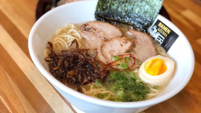 Ramen and side dishes at Azuma Ramen in Englewood.