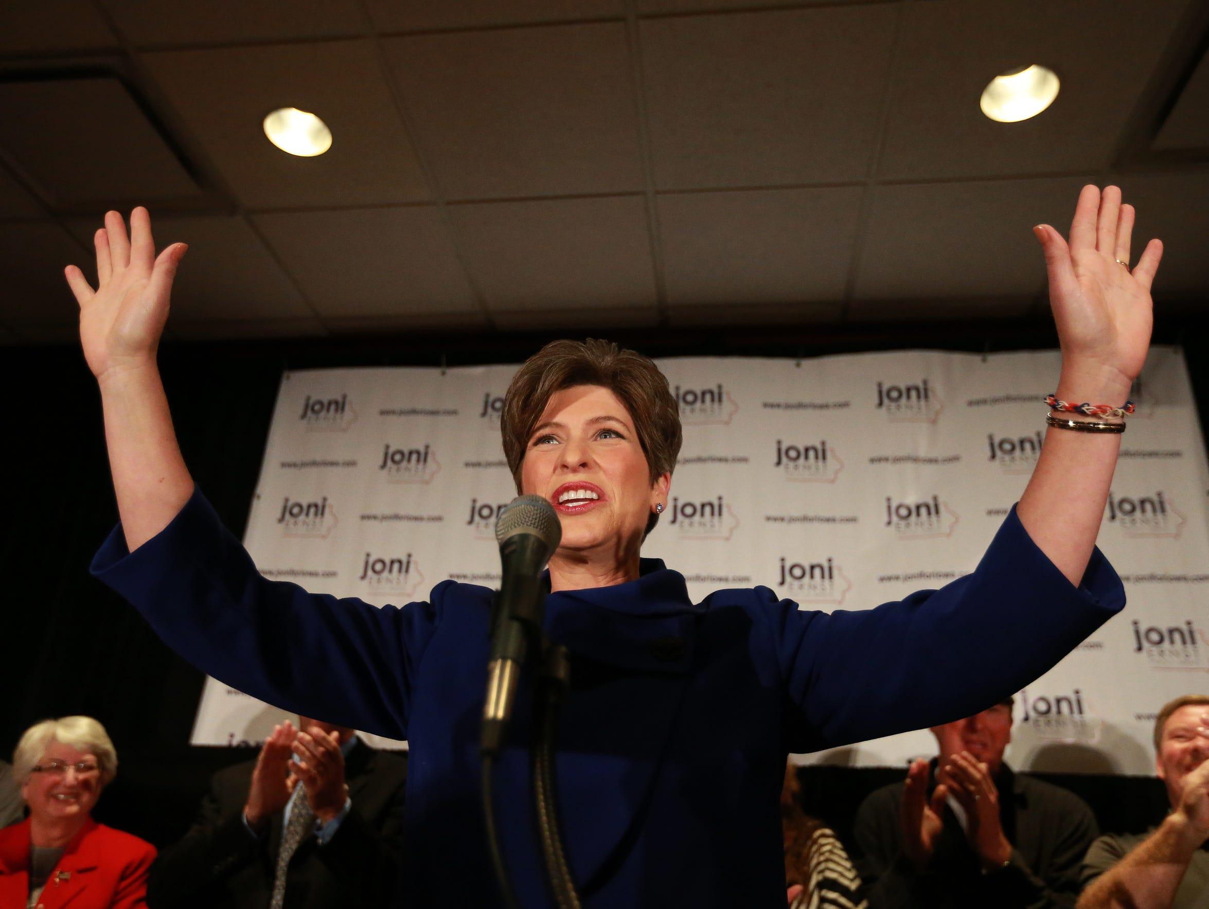 GOP Sen.-elect Joni Ernst addresses supporters on Nov.
