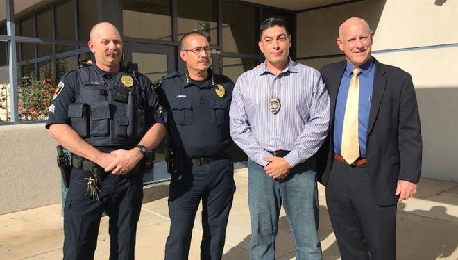 From left: Sgt. Thaddeus Allen, LCPD Police Chief Jaime Montoya, Sgt. Jaime Quezada and City Manager Stuart Ed on Wednesday, Nov. 8, 2017.