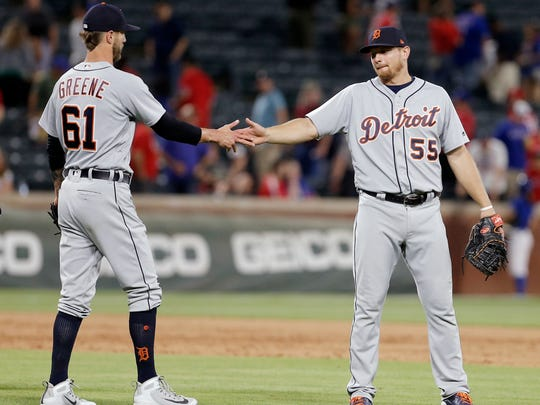 Detroit Tigers relief pitcher Shane Greene (61) and