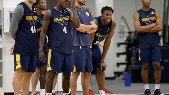 Indiana Pacers watch from the sidelines during Pacers practice at the St. Vincent Center on Tuesday, Sept. 26, 2017.