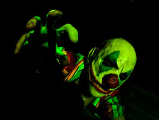 This scary clown is part of the Haunted Hayride at