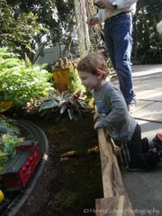 Checking out the trains at the New York Botanical Gardens