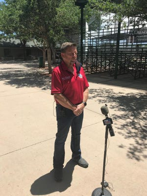 Pueblo County Commissioner Chris Wiseman prepares to address the media during a press conference on Monday at the Runyon Sports  Complex.