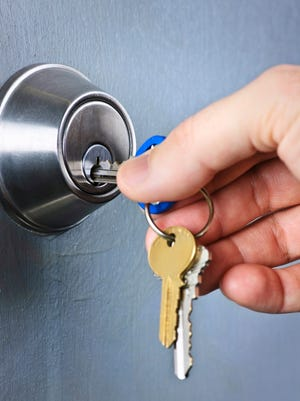 A deadbolt is a type of lock with a steel bolt that extends into the door jamb and strike plate of a door frame.