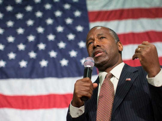 Dr. Ben Carson speaks during a campaign rally at the Sharonville Convention Center Sept. 22, 2015, in Cincinnati.