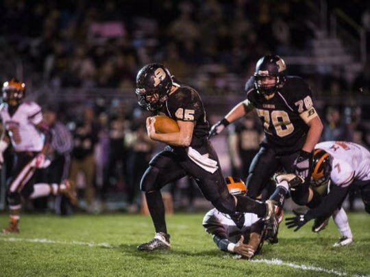 Biglerville's Colton Sentz scored three touchdowns against Hanover during a regular-season matchup. The two squads meet in the opening round of the District 3 playoffs Friday.