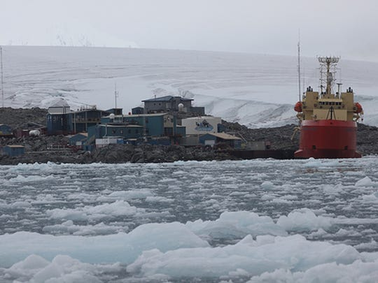 Laurence M. Gould vessel docked near Palmer Long Term Ecological Research station in the Antarctic.
