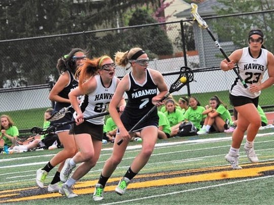 Patti Daniels (2) of the Paramus girls lacrosse team is one of the top scorers in North Jersey.
