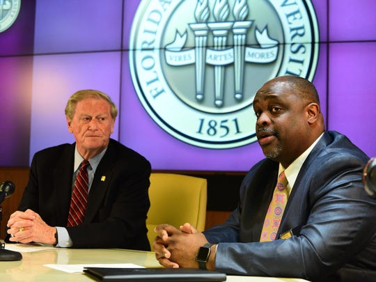 President John Thrasher holds an announcement on November 6 banning all Greek life from FSU.