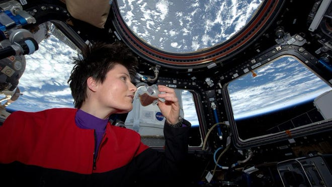 Samantha Cristoforetti sips her freshly brewed espresso aboard the International Space Station.