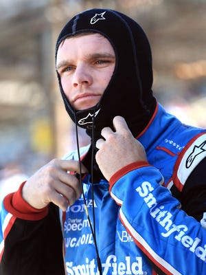 IndyCar driver Conor Daly looks on during Carb Day for the 2015 Indianapolis 500 at Indianapolis Motor Speedway.