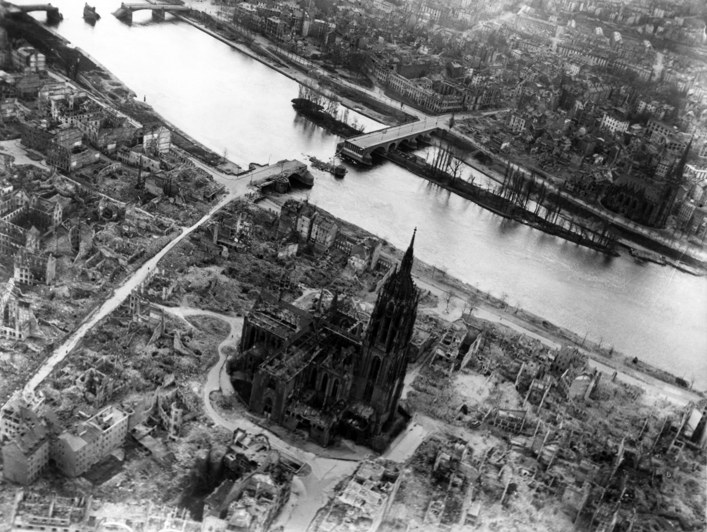 Bomb damage near the cathedral in Frankfurt, May 1945.