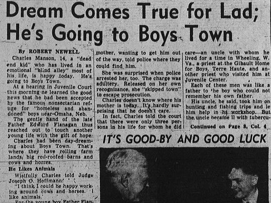 This article appeared on page one of The Indianapolis News on March 7, 1949.  The 14-year-old featured in the story is Charles Manson, who would later become a mass murderer.