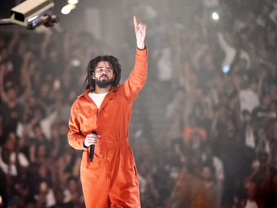 American hip-hop artist J. Cole performs at Barclays