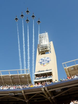 The U.S. Air Force Thunderbirds flyover before the All-Star Game at Petco Park.