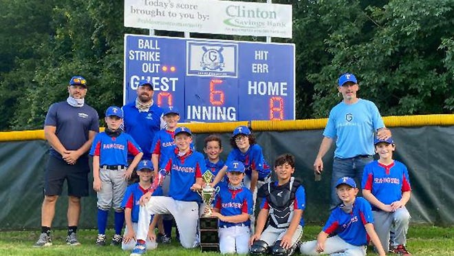 The Rangers won the Majors championship in the Gibbs Little League: (standing, from left) Jay LaBrack (assistant coach), Quinn Cordial, Dennis Bakun (head coach), Caden Laverdieri, Caleb Broudo  and Jeff Iafrati (assistant coach); (kneeling, from left) Derek Bakun, Austin Briggs, Evan LaBrack, Tyler Beverage, Andre Bonica, Toby Gibson and  Sam Iafrati.