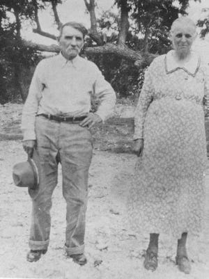 Landora Milton and Sarah Elizabeth Andrews in early 1900s survey their Texas Hill Country farm.