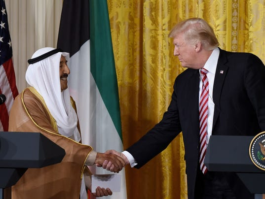 U.S. President Donald Trump holds a joint press conference with Emir al-Sabah of Kuwait  - DC
