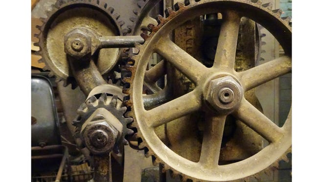 """""""Gears,"""" a photo by Madalene Murphy, is part of a new display, """"Aperture On Amesbury: Views Of The Built Environment,"""" on view in the Art @ City Hall Gallery through the end of September."""