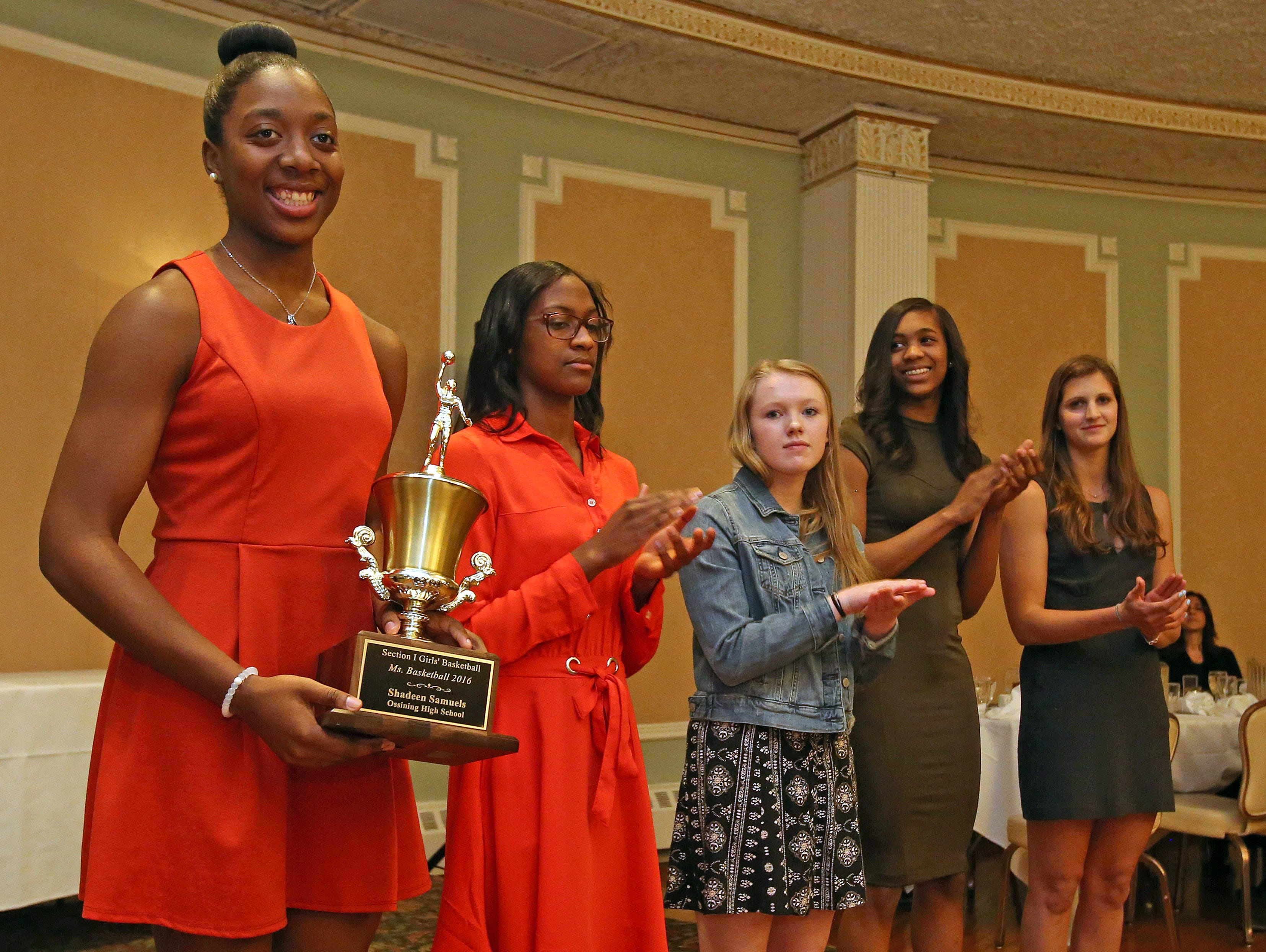 From left, Shadeen Samuels, Teisha Hyman, Lindsay Halpin, Aubrey Griffin, Maddie Eck were named The Journal News girls basketball first team all-stars during Section 1 Coaches Association girls basketball dinner at Colonial Terrace in Courtlandt Manor on March 29, 2016.